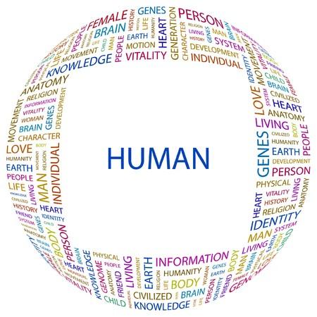 civilized: HUMAN.   letter collection. Wordcloud illustration.   Illustration