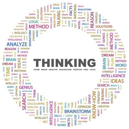 keywords background: THINKING. Word collage on white background illustration.