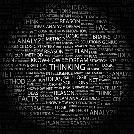THINKING. Word collage on black background. illustration.