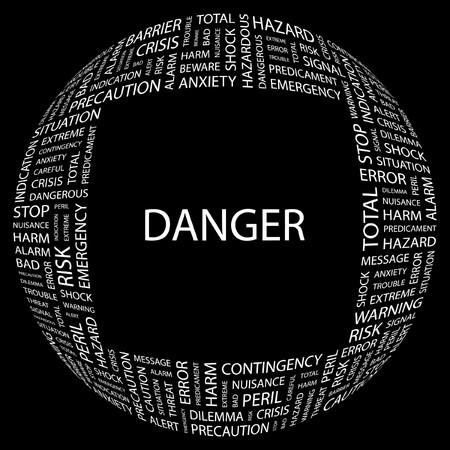 DANGER. Word collage on black background.  illustration.    Stock Vector - 7357068