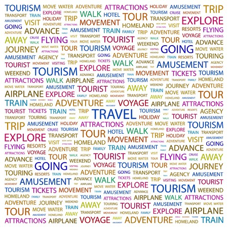 TRAVEL. Word collage on white background.   illustration.    Vector