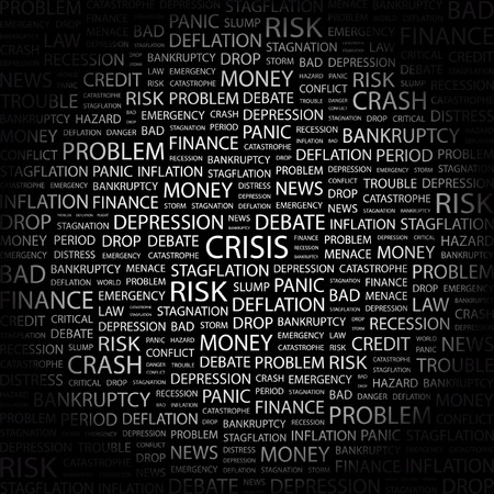 contingency: CRISIS. Word collage on black background. illustration.