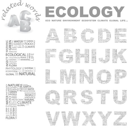 ECOLOGY. letter collection. Wordcloud illustration.   Vector