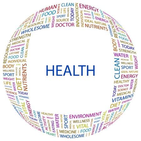 good health: GEZONDHEID. Woord collage op witte achtergrond. illustratie.