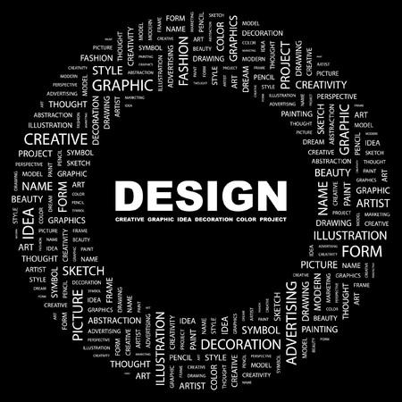 DESIGN. Word collage on black background. illustration.    Vector