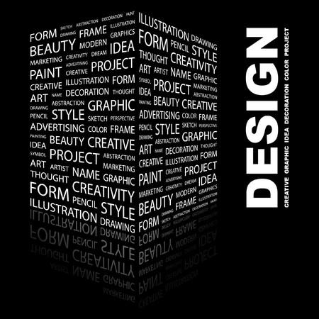 DESIGN. Word collage on black background. illustration.