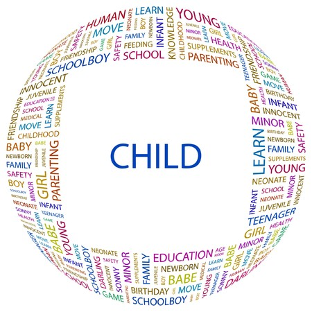 CHILD. Word collage on white background.  illustration. Stock Vector - 7357063