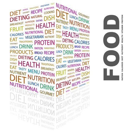 FOOD. Word collage on white background. illustration. Stock Vector - 7357069