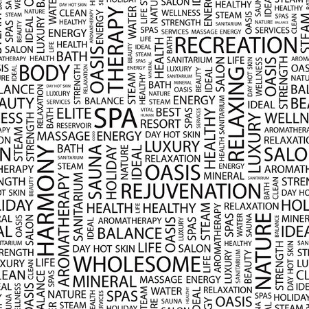 spa resort: SPA. Seamless  pattern with word cloud.