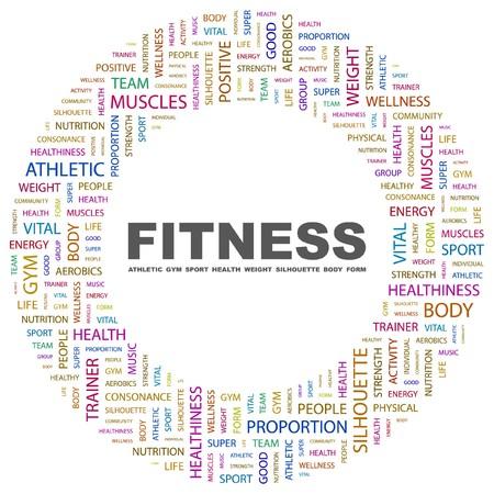 healthiness: FITNESS. Palabra collage sobre fondo blanco. ilustraci�n.