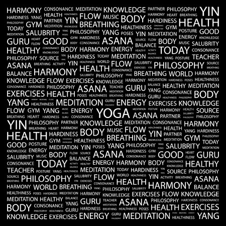 asanas: YOGA. Word collage on black background.  illustration.    Illustration