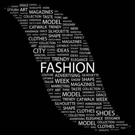 catwalk model: MODA. Parola di collage su sfondo nero. illustrazione.