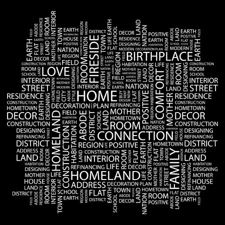 HOME. Word collage on black background.  illustration. Stock Vector - 7356580