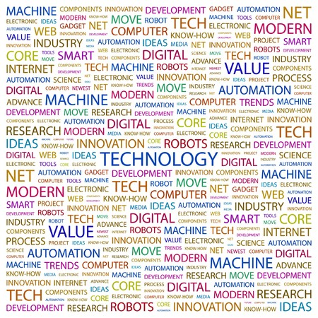 TECHNOLOGY. Word collage on white background.  illustration.    Vector