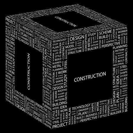 steel workers: CONSTRUCTION. Word collage on black background.  illustration.