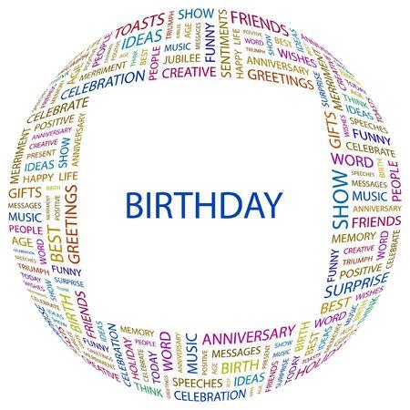 BIRTHDAY. Word collage on white background. illustration.