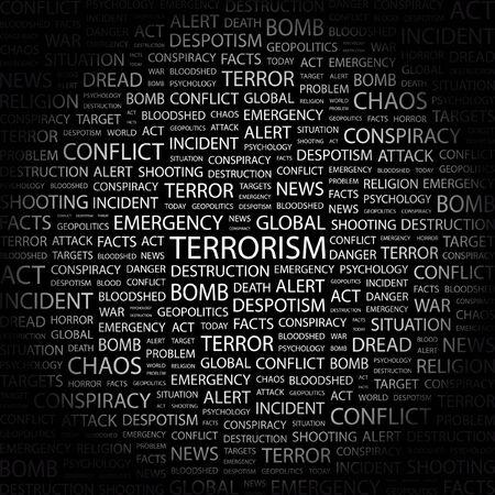 terrorists: TERRORISMO. Parola di collage su sfondo nero. illustrazione.