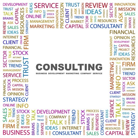 marketing mix: CONSULTING. Word collage on white background. illustration.