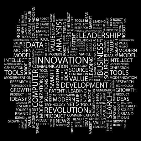 INNOVATION. Word collage on black background illustration. Stock Vector - 7356464