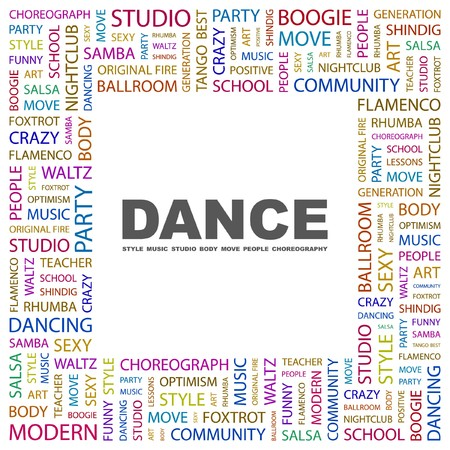 DANCE. Word collage on white background illustration.    Vector