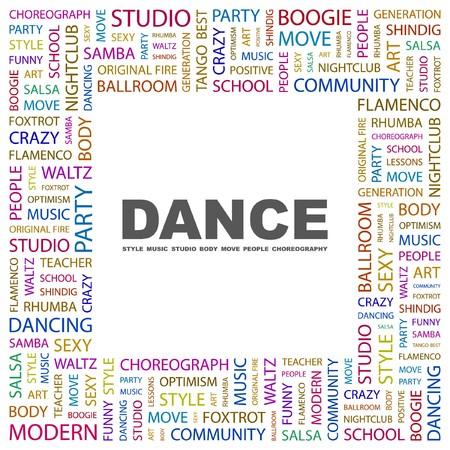 dance teacher: DANCE. Word collage on white background illustration.    Illustration