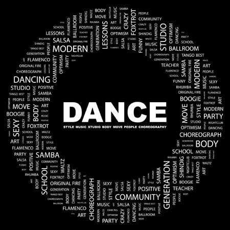 flit: DANCE. Word collage on black background illustration.