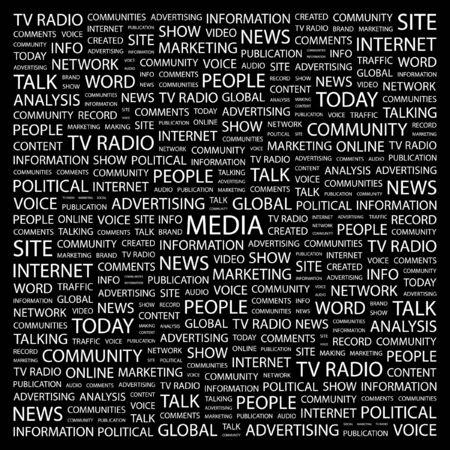 MEDIA. Word collage on black background.  illustration.    Vector