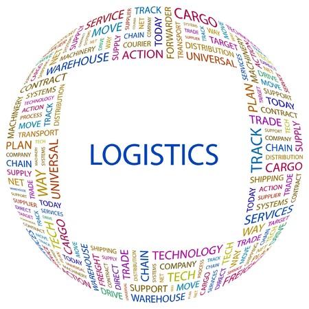 air freight: LOGISTICA. Parola di collage su sfondo bianco illustrazione.