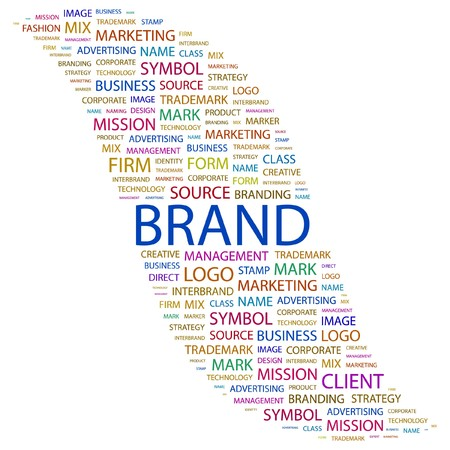 wordcloud: BRAND. Word collage on white background. illustration.