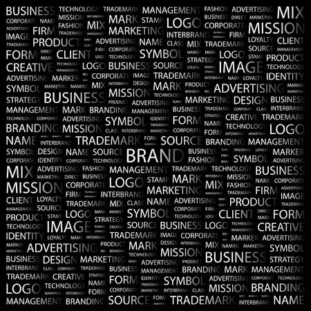 interbrand: BRAND. Word collage on black background.  illustration.    Illustration