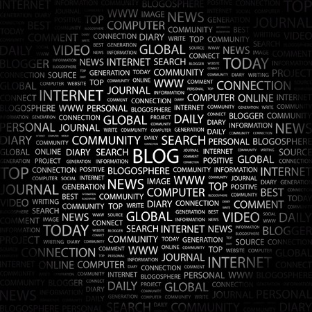 BLOG. Word collage on black background. illustration. Stock Vector - 7358442