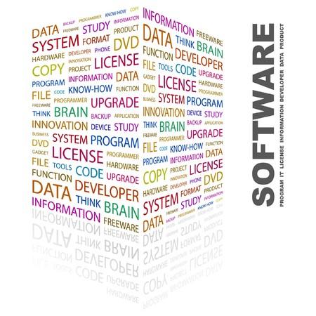 生産性: ソフトウェア。白い背景の上の単語のコラージュ。イラスト。