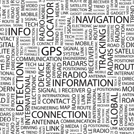 GPS. Seamless background. Wordcloud illustration. Stock Vector - 7356433