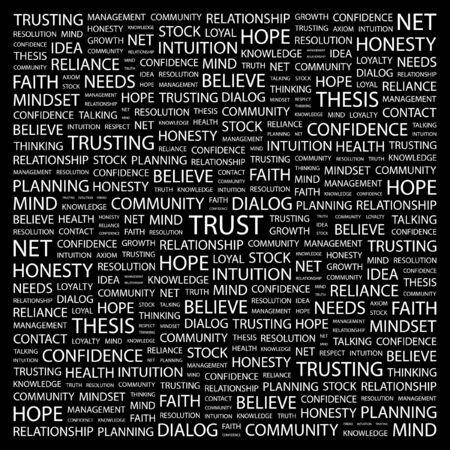 axiom: TRUST. Word collage on black background. illustration.    Illustration