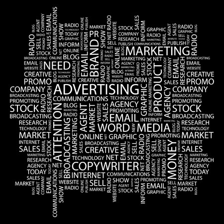 ADVERTISING. Word collage on black background.  illustration.    Vector