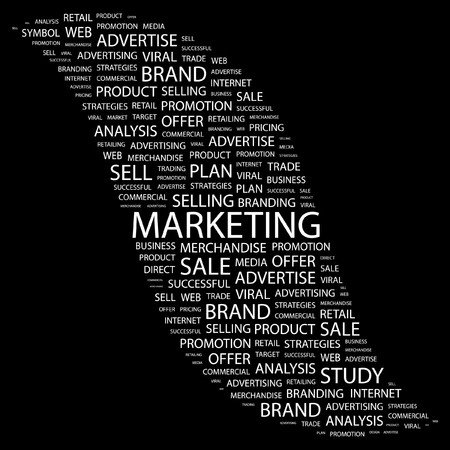 marketing mix: MARKETING. Word collage on black background. illustration.    Illustration