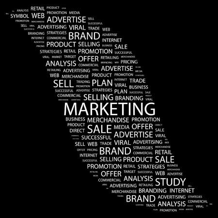 advertisement: MARKETING. Wort Collage auf schwarzem Hintergrund. Abbildung.