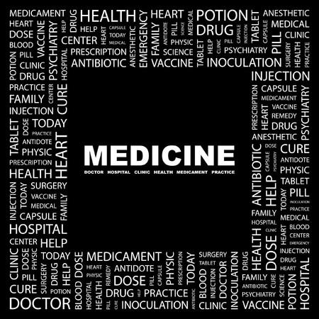 MEDICINE. Word collage on black background. illustration.    Stock Vector - 7355614