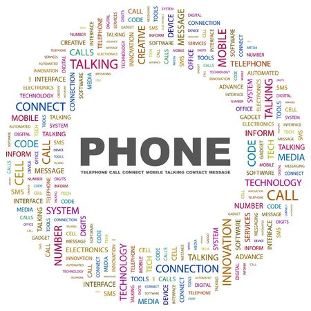 phone system: PHONE. Word collage on white background.  illustration.