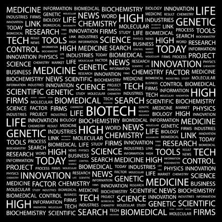 biomedical: BIOTECH. Parola di collage su sfondo nero illustrazione.  Vettoriali