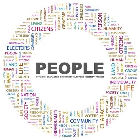 citizenry: PERSONAS. Palabra collage sobre fondo blanco. ilustraci�n.