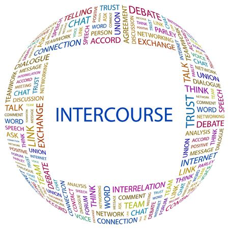 INTERCOURSE. Word collage on white background. illustration.    Vector