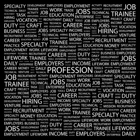 PROFESSION. Word collage on black background. illustration. Stock Vector - 7357269