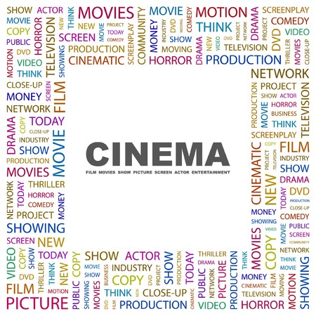 CINEMA. Word collage on white background.  illustration.    Vector