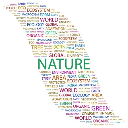 the humanities landscape: NATURE. Word collage on white background. illustration.
