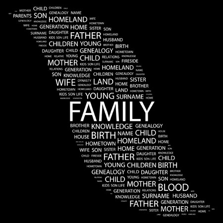 kindred: FAMILY. Word collage on black background.   illustration.