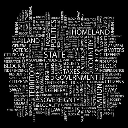 citizenry: STATE. Word collage on black background.  illustration.    Illustration