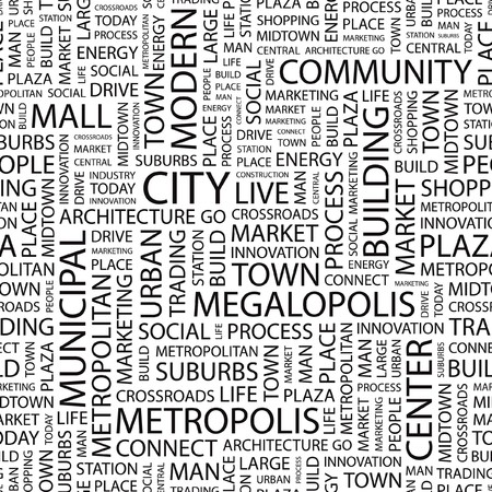 CITY. Seamless   background. Wordcloud illustration.   Vector