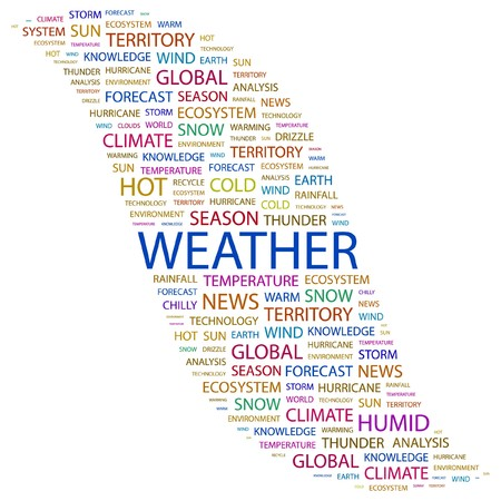 WEATHER. Word collage on white background.  illustration.    Stock Vector - 7355684