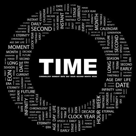 long term: TIEMPO. Palabra collage sobre fondo negro. ilustraci�n.  Vectores